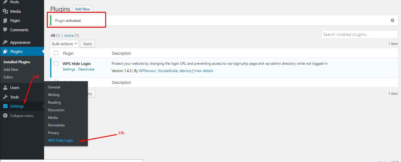 go settings of the hide login plugin