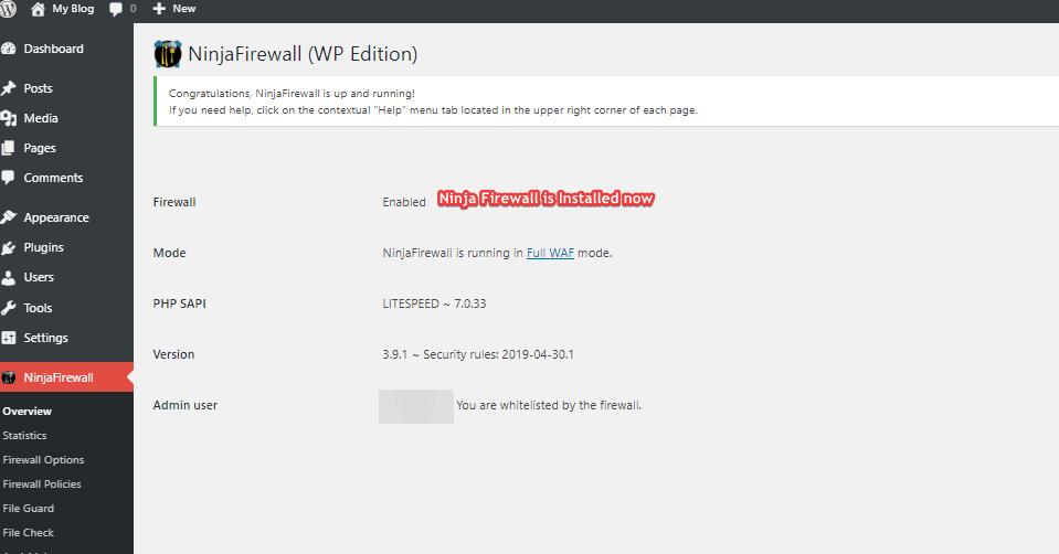 NinjaFirewall is up and running!